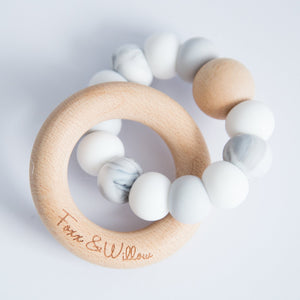 Infinity Teether - Scandi White, Grey & Marble