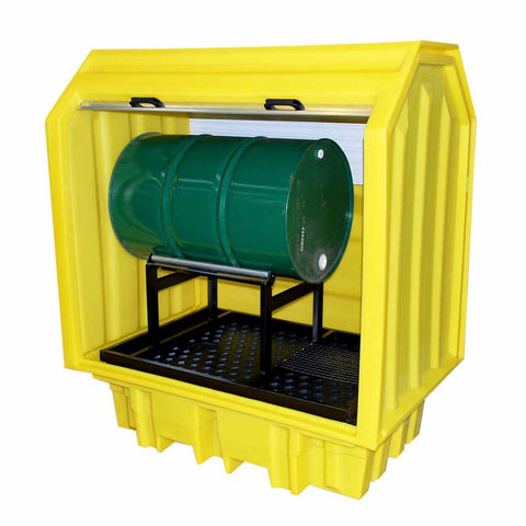 2 Drum Spill Pallet - Hard covered with horizontal storage
