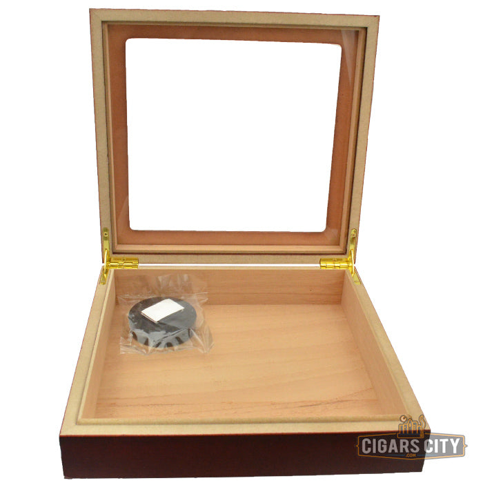 Chateau Glasstop Cherry Humidor for 20 Cigars - CigarsCity.com