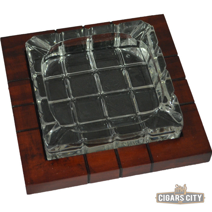 Wood & Crystal Cross Hatch Ashtray - CigarsCity.com