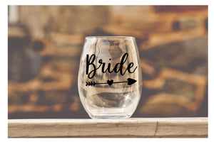 Wedding Party Wine Glasses - Bride