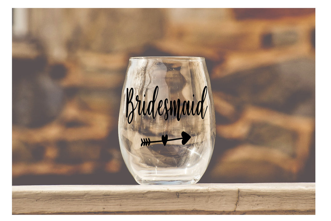 Wedding Party Wine Glasses - Bridesmaid