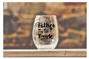 Wedding Party Wine Glasses - Father of the Bride