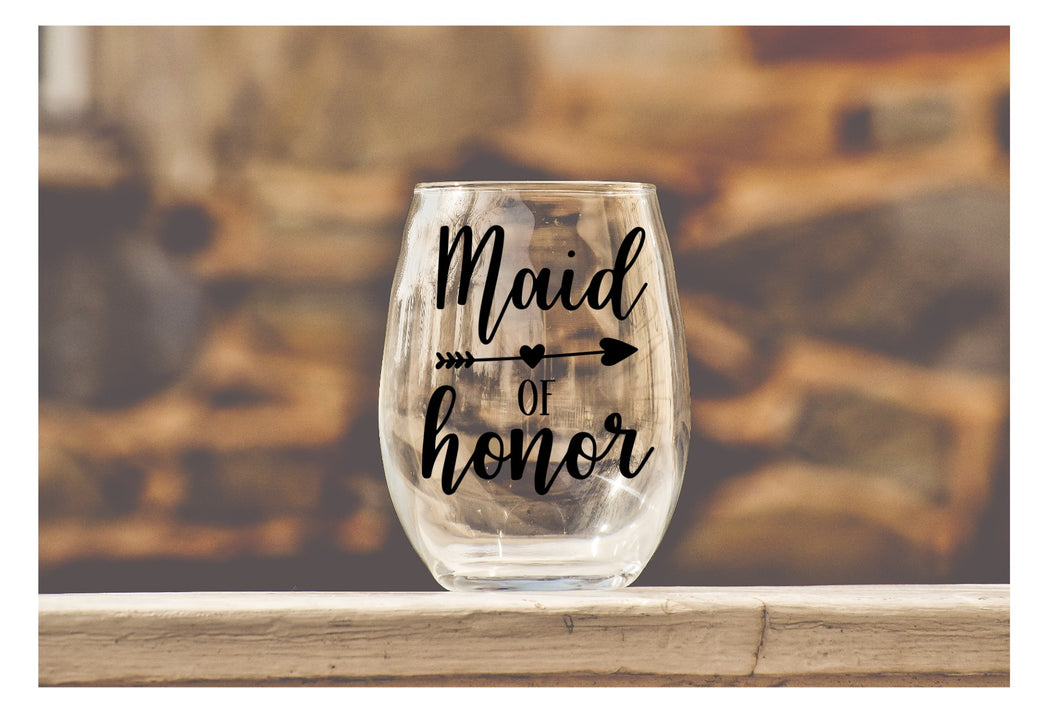 Wedding Party Wine Glasses - Maid of Honor