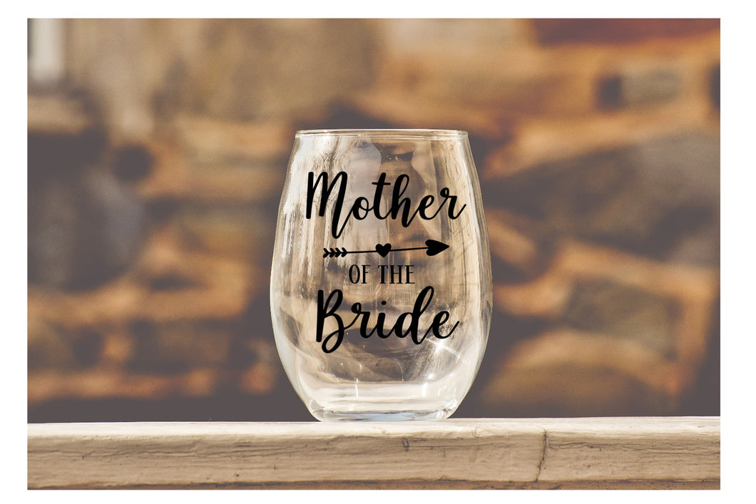 Wedding Party Wine Glasses - Mother of the Bride