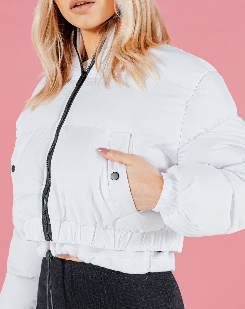 BLFD WOMEN'S CROP PUFFER JACKET | WHITE