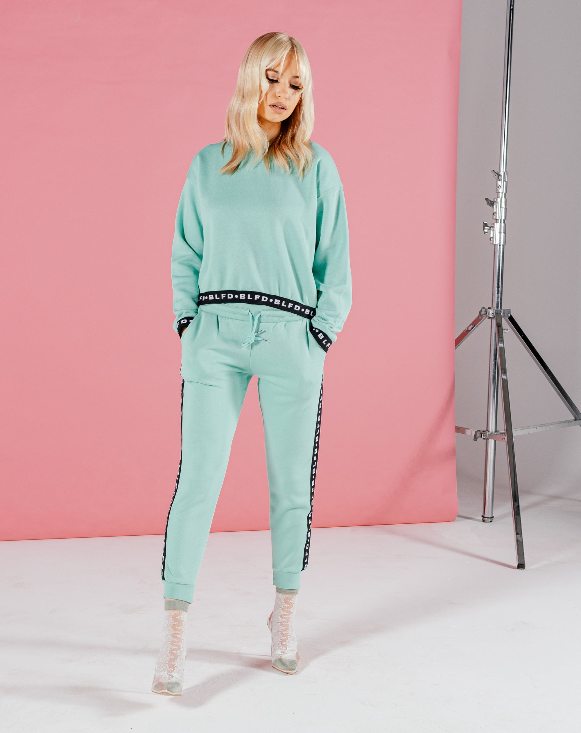 BLFD MERTY WOMEN'S JOGGERS WITH BRANDED TAPE - MINT
