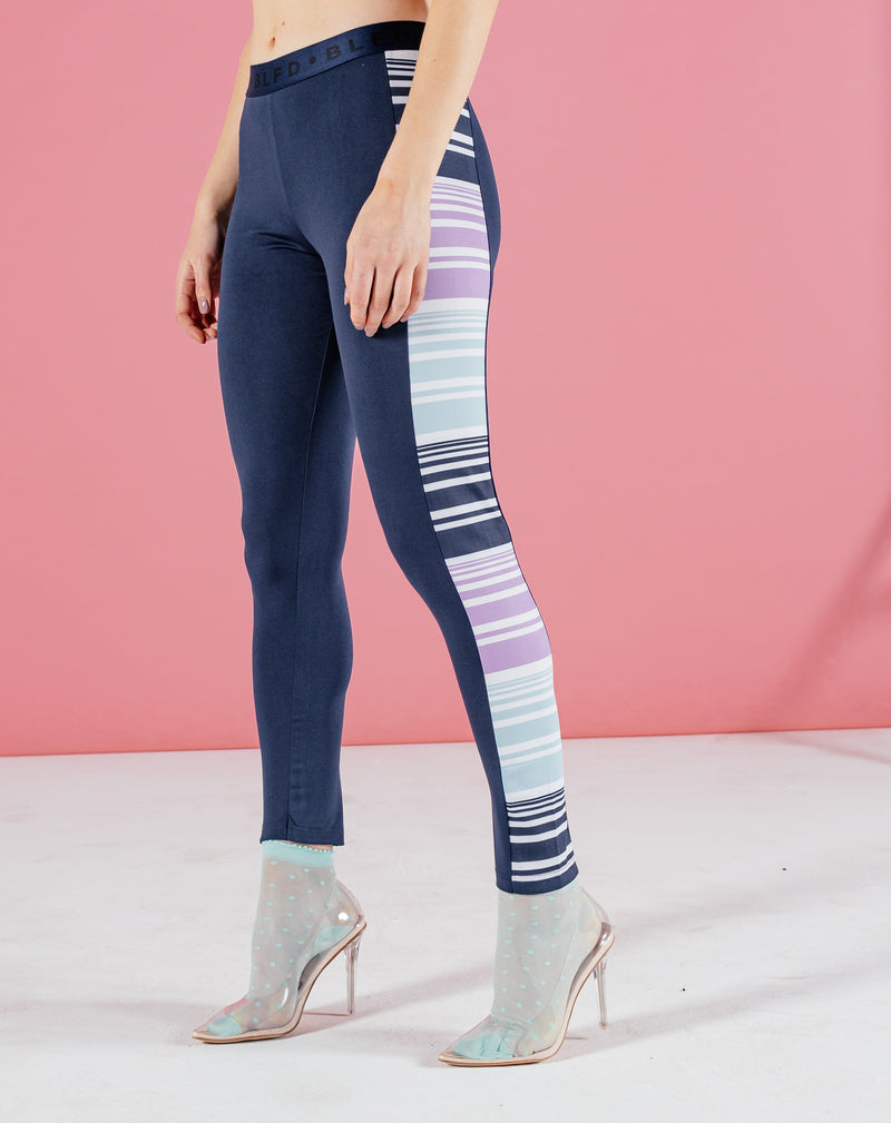 BLFD WAYO WOMEN'S STRIPED PANELLED LEGGINGS - NAVY