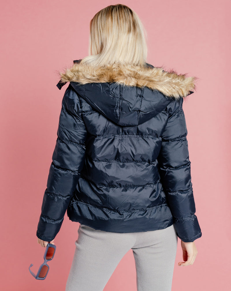 BLFD WOMEN'S FUR HOOD PUFFER JACKET | NAVY