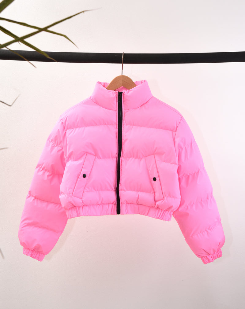 BLFD WOMEN'S CROP REFLECTIVE PUFFER JACKET | PINK