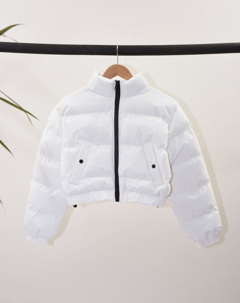 BLFD WOMEN'S CROP REFLECTIVE PUFFER JACKET | WHITE