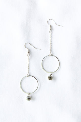Diamante Circle Drop Earrings SILVER