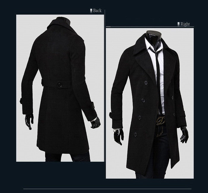 New Men's Business Style Long Coat
