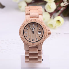 Woody on Wrist: Wooden Strap Watch with Date