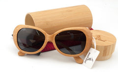 100% Nature Wood Frame Sunglasses, Retro Styled For Men and Women