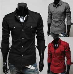 Two-pockets Mens Casual Fashion Design Slim Long Sleeved Shirt