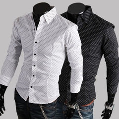 Fashion Classic DOT Cotton Casual Long Sleeve Shirt