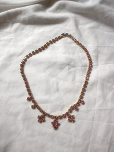 Vintage necklace with pink rhinestones.