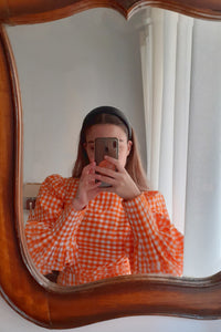 Lucrezia Dress in Orange Vichy