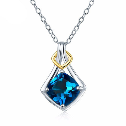 Hutang 1.67ct London Blue Topaz Pendant Natural Gemstone 925 Sterling Silver Necklace