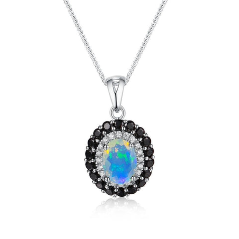 Natural Opal Pendant real black garnet pendant ruby pendant 925 sterling silver