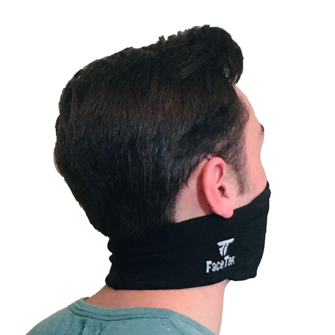 Back Side View of Comfortable Black Mask with White Logo on Face
