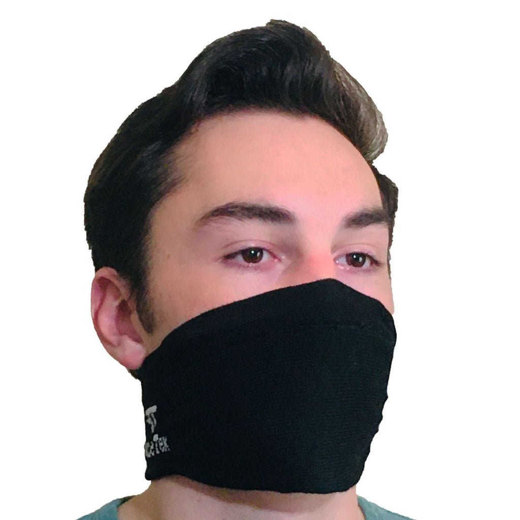 Front View of Comfortable Black Mask with White Logo on Face