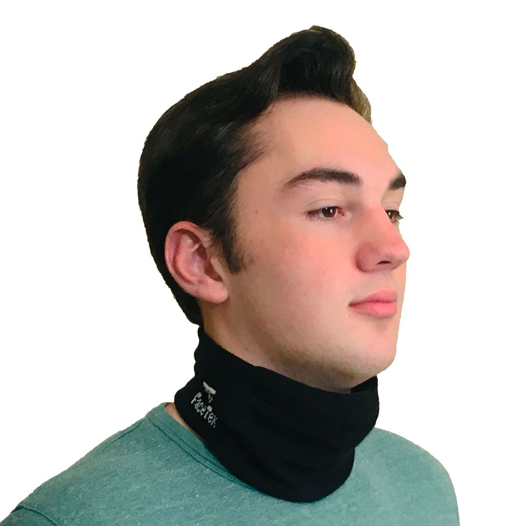 Front View of Comfortable Black Mask with White Logo on Neck
