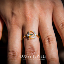 Load image into Gallery viewer, Luxsy Gold Crescent Ring - 925 Silver - Luxsy Jewels
