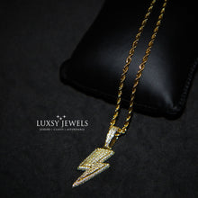 Load image into Gallery viewer, Iced Out Lightning Bolt Necklace - 18K Gold - Luxsy Jewels
