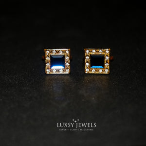 Gold Crystal Cufflink With Blue Stone - Luxsy Jewels