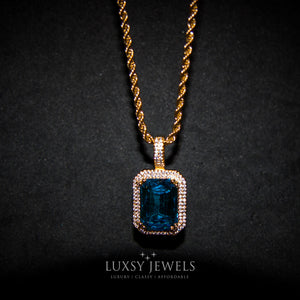 Blue Sapphire Pendant Chain - 18K  Gold - Luxsy Jewels
