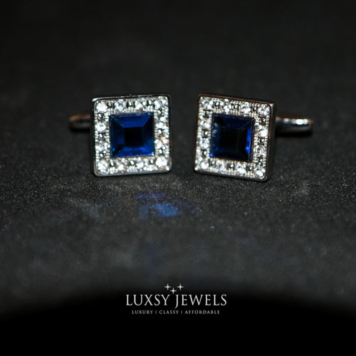 Silver Crystal Cufflink with Blue Stone - Luxsy Jewels
