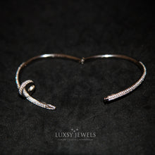Load image into Gallery viewer, Luxsy Iced Nail Bangle - Silver - Luxsy Jewels