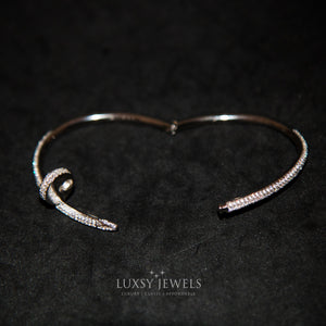 Luxsy Iced Nail Bangle - Silver - Luxsy Jewels