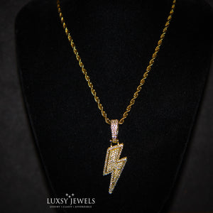 Iced Out Lightning Bolt Necklace - 18K Gold - Luxsy Jewels