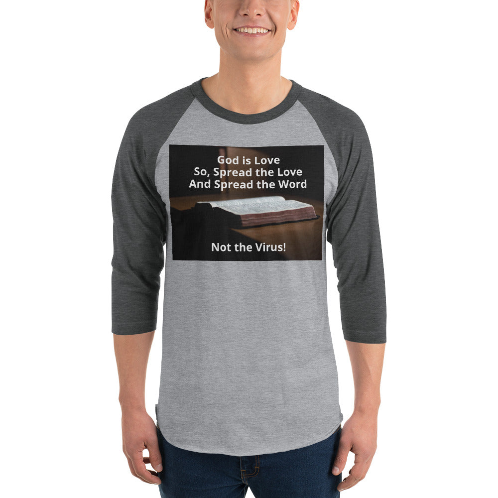 T-Shirt with Christian message; 3/4 sleeve raglan shirt