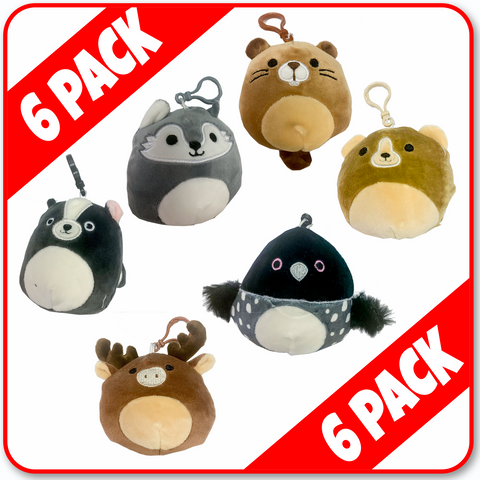 "Squishmallows - 3.5"" CLIPS  **6 PACK** 'CANADIAN' Moose/Beaver/Wolf/Bear/Loon/Skunk"