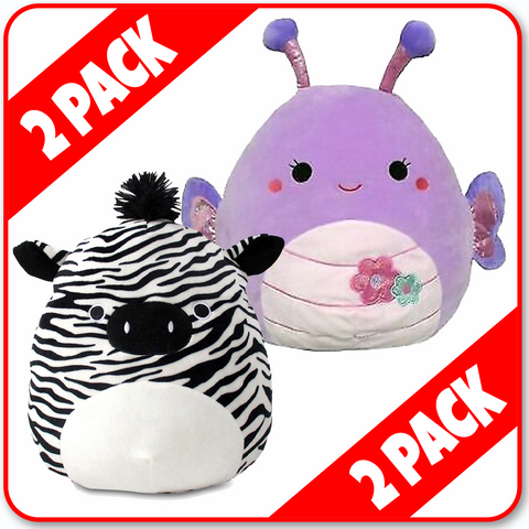 "Squishmallows - 16""  **2 PACK** Freddie the Zebra & Brenda the SUMMERFUN Butterfly"
