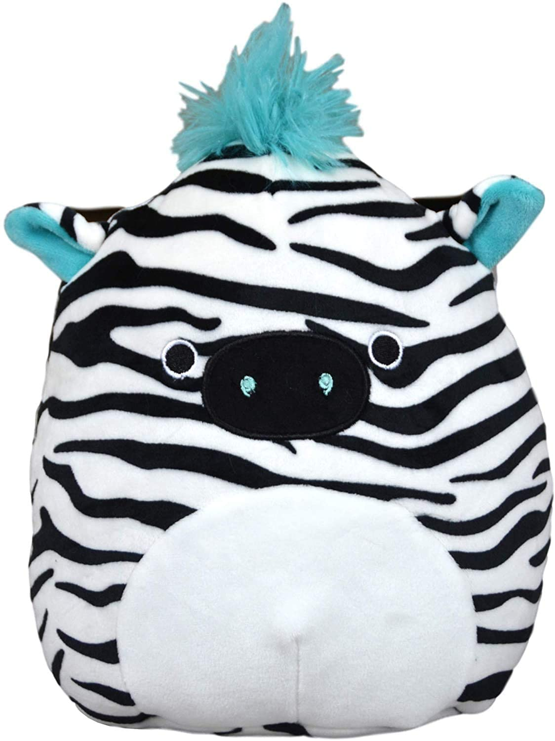 "Squishmallows - 8"" BRIGHT SQUAD Zeke the Zebra Blue Hair"