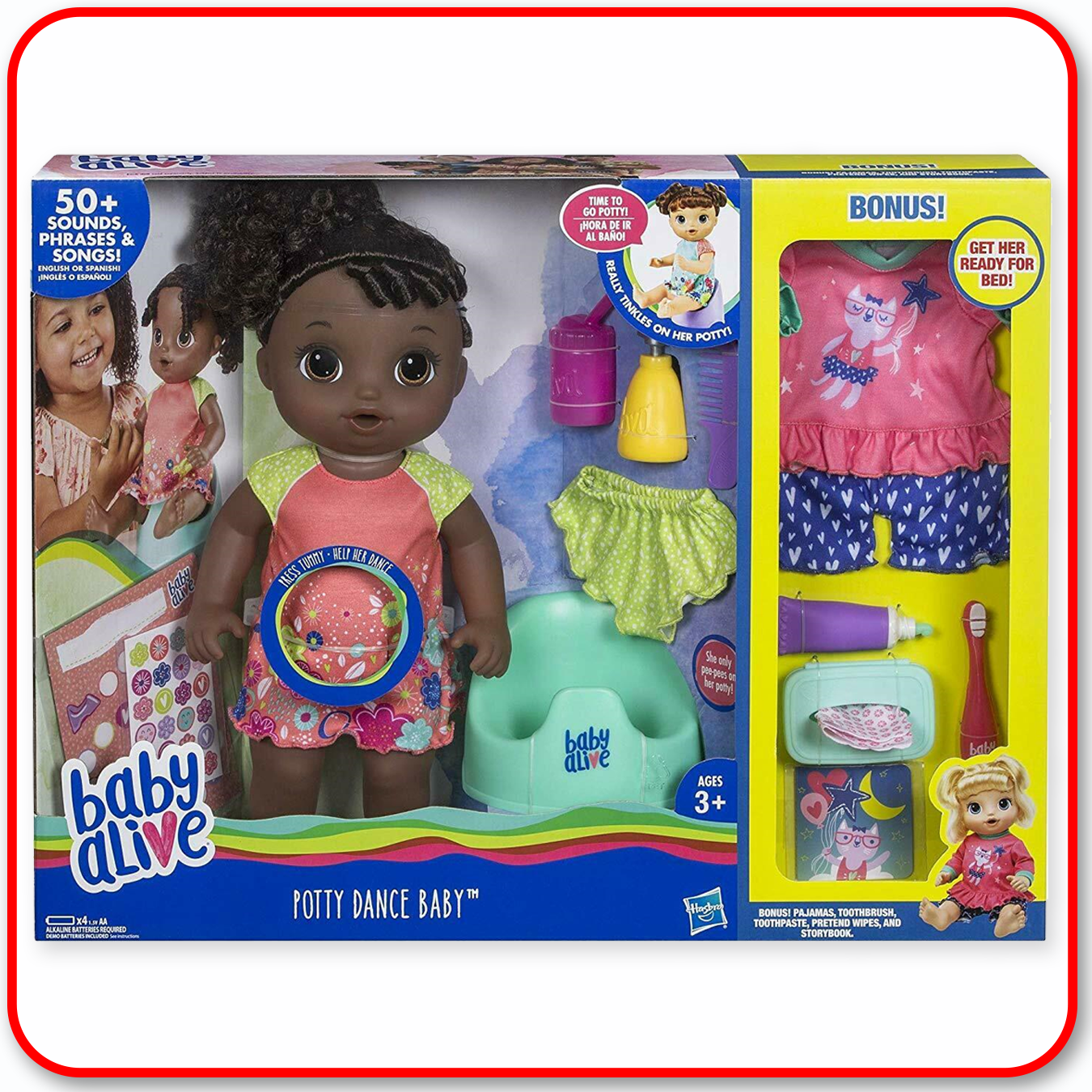 Baby Alive - Potty Dance Black Curly Hair w/ Bonus