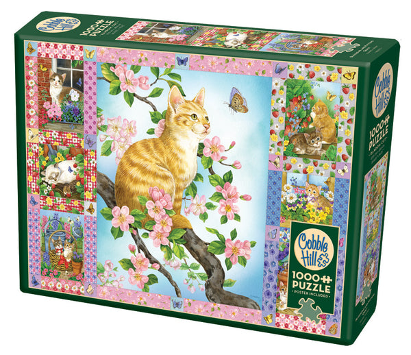 Blossoms and Kittens Quilt - Cobble Hill 1000pcs Puzzle