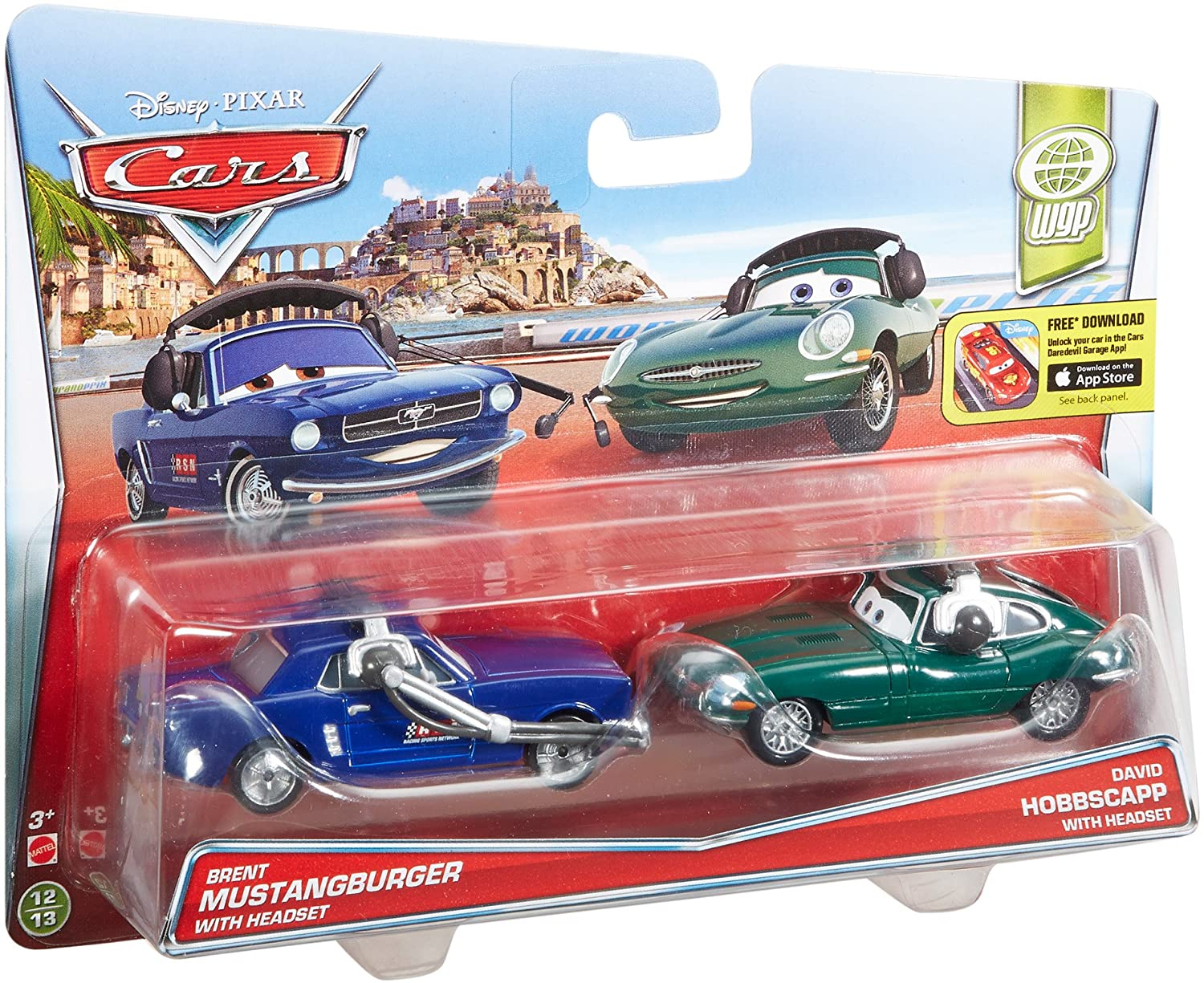 Disney Cars - Brent Mustangburger with Headset and David Hobscapp with Headset Vehicle 2-Pack