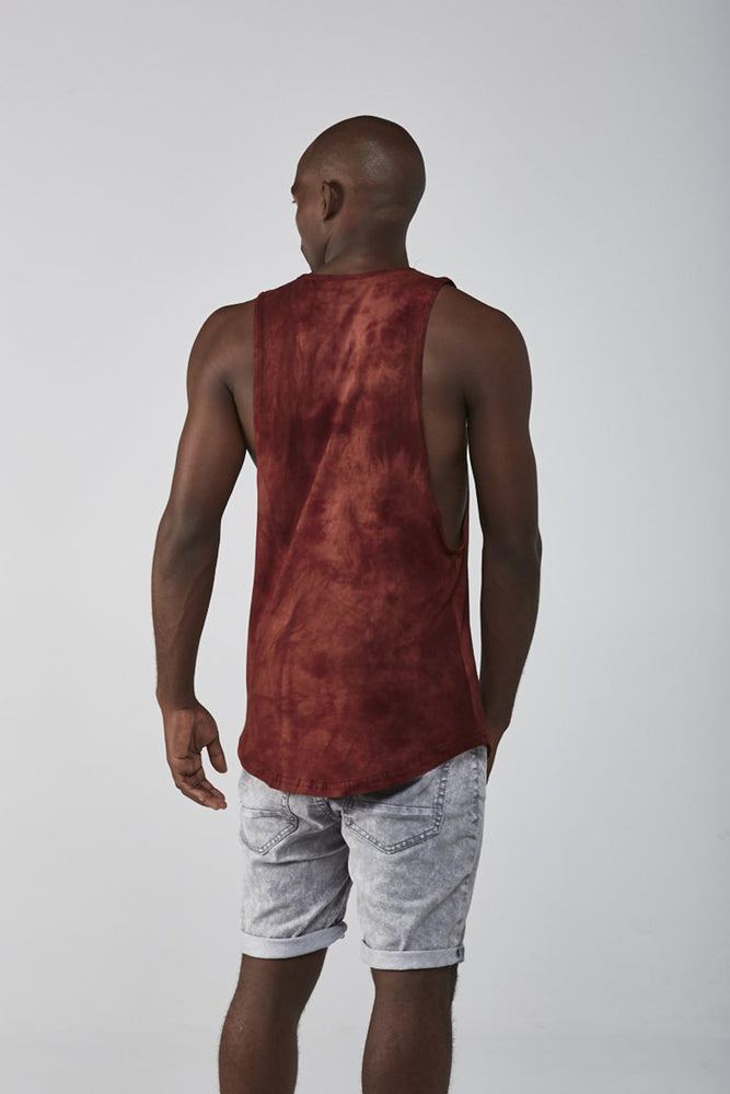 Custom Tie-Dye Sleeveless Tee | Burgundy