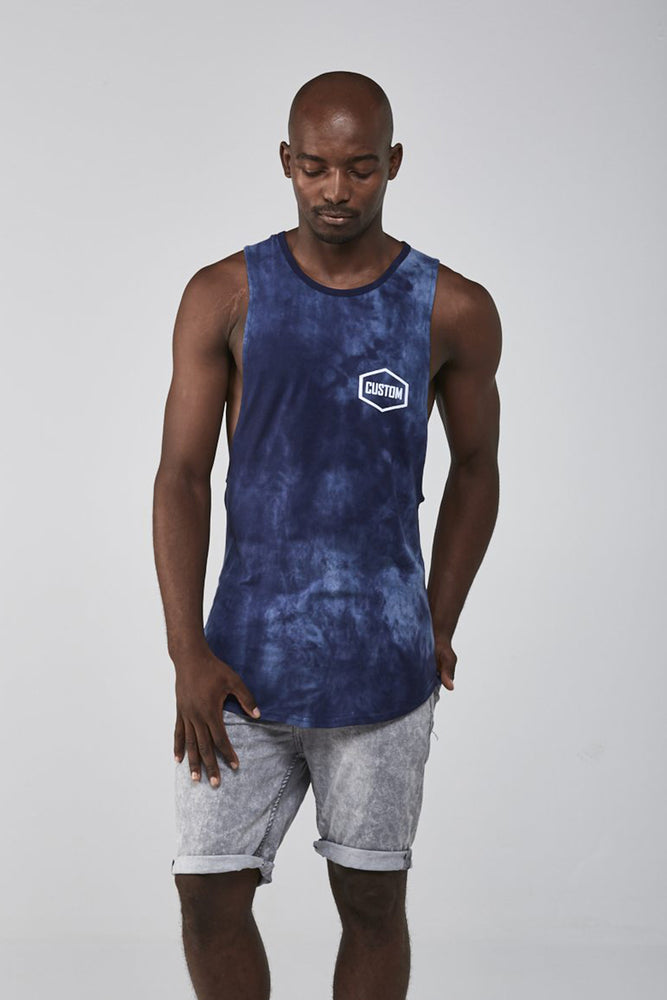 Custom Tie-Dye Sleeveless Tee | Blue