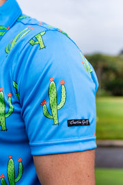 CA Funky Golf Shirt | Blue Cactus