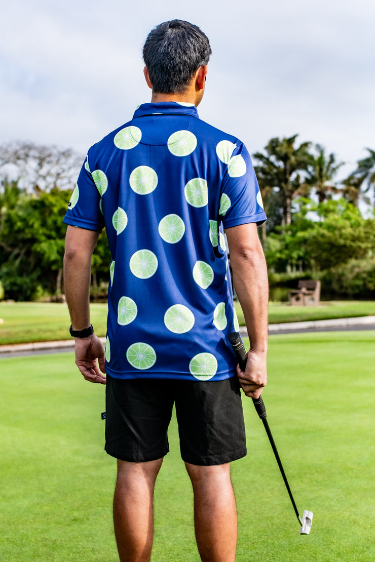 CA Funky Golf Shirt | Navy Limes
