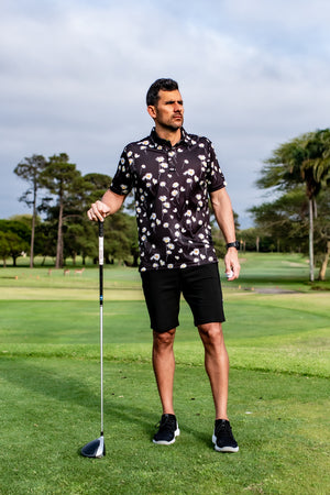 CA Funky Golf Shirt | Black Daisies