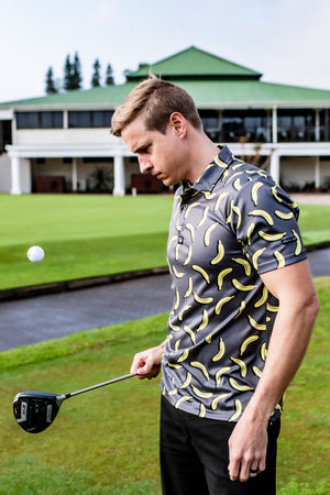 CA Funky Golf Shirt | Charcoal Bananas