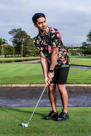 CA Funky Golf Shirt | Black Floral